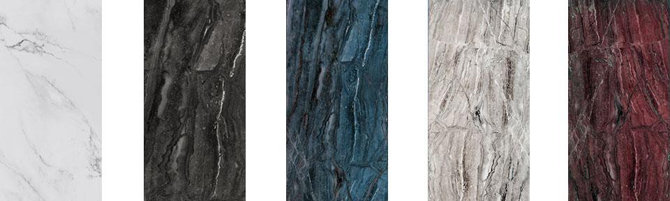 대리석 처럼 구현한 PosART의 예시 다섯 가지의 색상이 있으며 흰색, 검은색, 곤색, 회색, 고동색을 띈다.