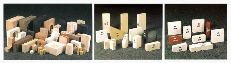 벽돌처럼 만들어 사용하는 정형내화물. 내화물의 기술이 개발되면서 이처럼 다양한 모양의 내화