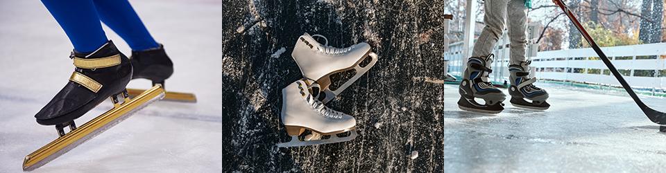 여러 용도의 스케이트, 왼쪽부터 쇼트트랙스피드스케이팅용스케이트, 피겨스케이트용스케이트, 아이스하키용