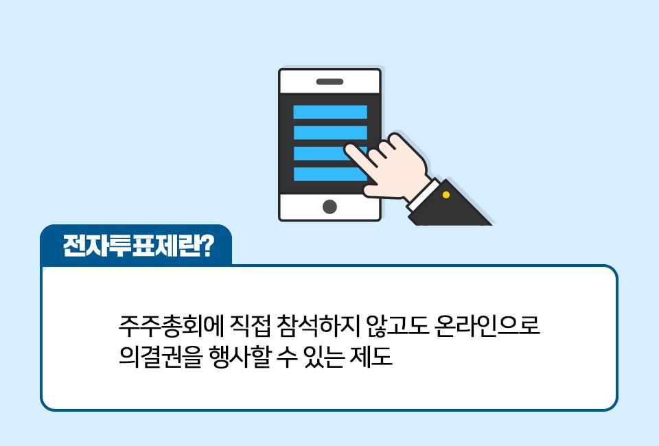 핸드폰 아이콘과 함께 전자투표제에 대해 설명한다. 전자투표제란? 주주총회에 직접 참석하지 않고도 온라인으로 의결권을 행사할 수 있는 제도