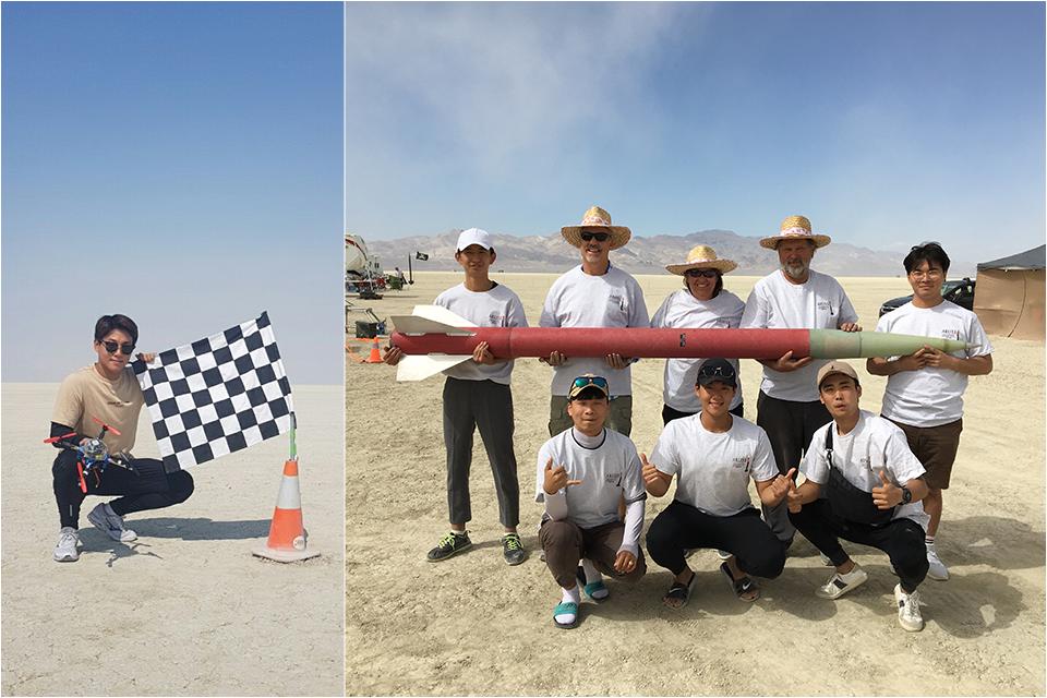 포스코 신입사원 장성준사원이 美 ARLISS 2018라는 대회에 나갔을 당시. 왼쪽부터 개발한 드론과 함께 촬영. 로켓과 함께 팀원들과의 단체촬영
