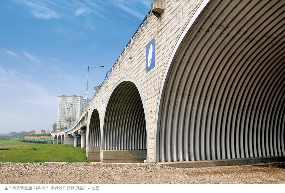 파형강판으로 지은 우리 주변의 다양한 인프라 시설들. 반원 모양의 터널에 파형강판을 사용한 모습.