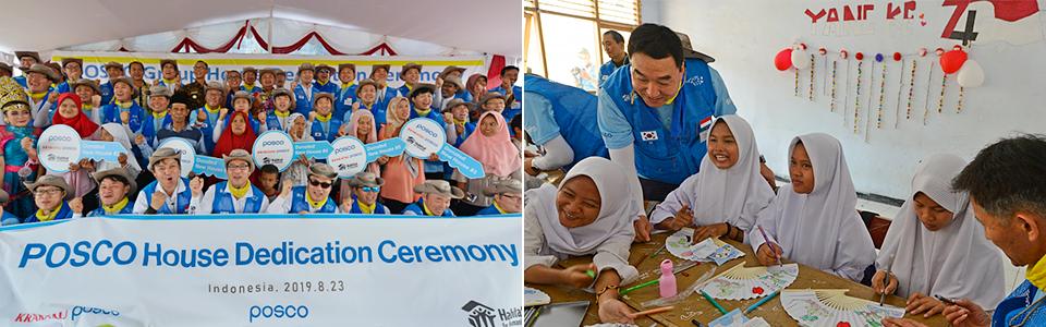 찔레곤 지역에서 스틸빌리지 활동을 통한 집짓기 봉사활동 및 교육 봉사활동 모습. POSCO House Dedication Ceremony.