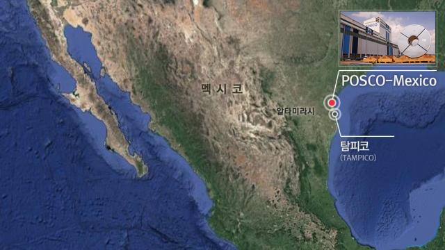 (멕시코 지도 이미지. 멕시코 동쪽에 위치한 포스코멕시코와 탐피코 표시) 멕시코 알타미라시 POSCO-Mexico 탐피코(TAMPICO)