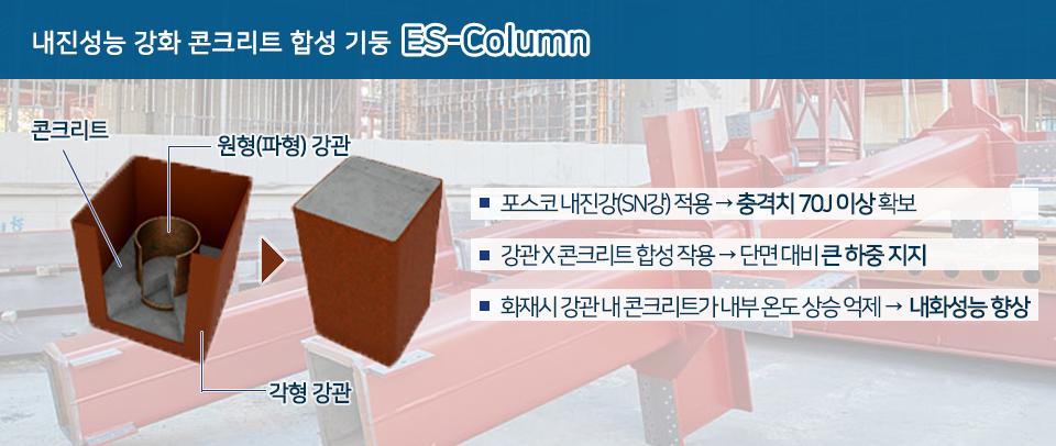 내진성능 강화 콘크리트 합성 기둥 ES-Column. 콘크리트, 원형(파형)강관, 각형 강관. 포스코 내진강(SN강)적용 - 충격치 70J 이상 확보, 강관X콘크리트 합성 작용 - 단면 대비 큰 하중 지지, 화재시 강관 내 콘크리트가 내부 온도 상승 억제 - 내화성능 향상