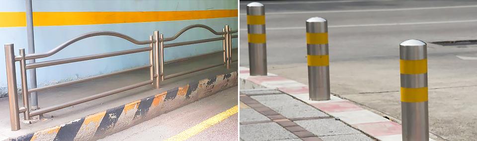공공가로시설물의 유형 : 안전펜스(좌), 볼라드(우), 출처: 도로교통공단