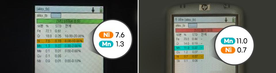 두 안전펜스에 사용된 스테인리스 스틸 성분 분석 결과. 니켈 Ni 7.6, 망간 Mn 1.3 (좌측) 망간 Mn 11.0, 니켈 Ni 0.7 (우측)