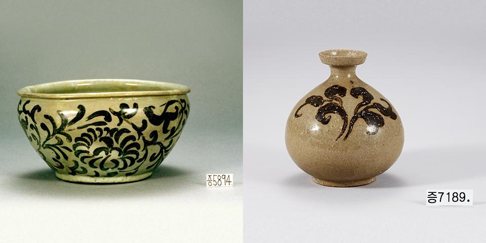 청자 철화 풀무늬 병(좌), 청자철화국당초문발(우) *출처=국립중앙박물관
