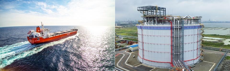 포스코 고망간강이 적용된 LNG연료탱크를 장착한 그린아이리스호(왼쪽)와 광양 LNG터미널 5호기 저장탱크